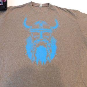Delta Shirts - Viking t shirt, blue and brown,  large